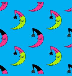 sleepy moon seamless pattern vector image