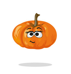 smiling pumpkin cartoon mascot character vector image