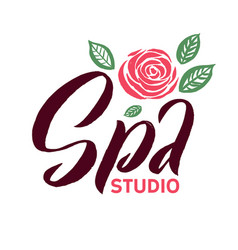 Spa studio logo stroke pink rose flower vector