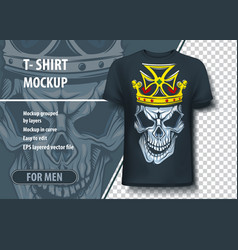 t-shirt mock-up template with skull and crown on vector image