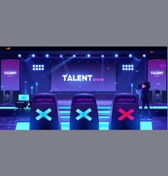 Talent show stage with jury chairs empty scene vector
