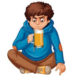 Teengaer drinking a beer vector