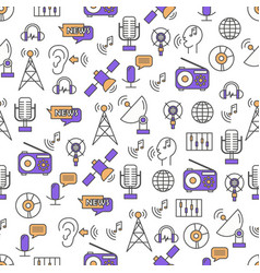 thin line art radio seamless pattern vector image