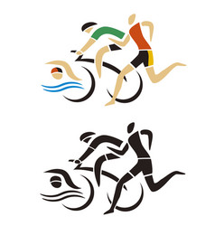 Triathlon racers runner cyclist swimmer icon vector