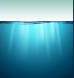 underwater ocean surface blue water background vector image