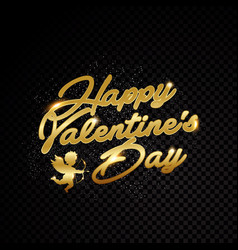 valentine day title text golden frame isolated on vector image