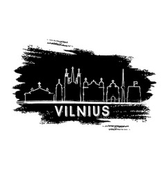 vilnius skyline silhouette hand drawn sketch vector image