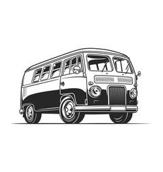 vintage hippie van template vector image