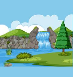 Waterfall river wood scene vector