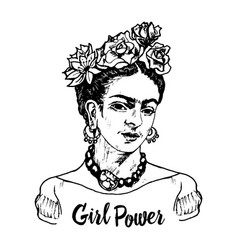 women feminist with flowers portrait mexican vector image