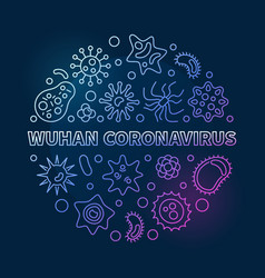 Wuhan coronavirus concept linear colorful vector