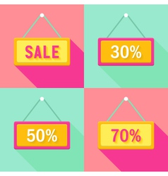 Yellow Pink Cyan Sale Signs Set vector