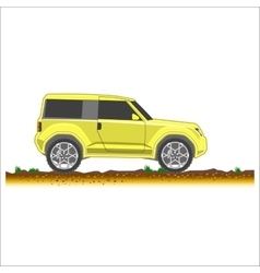 yellow suv car off-road 4x4 icon colored vector image