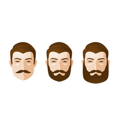 Portrait of beautiful men man with beard and vector