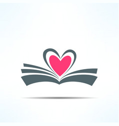 book icon with heart made of pages Love vector image vector image