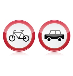 Car and bike icons road signs vector image vector image