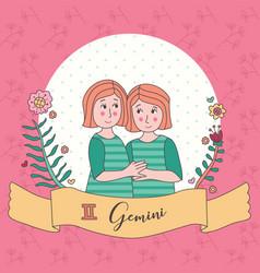 Cute horoscope zodiac girl gemini vector