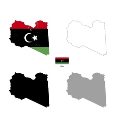 Libya country black silhouette and with flag on vector image