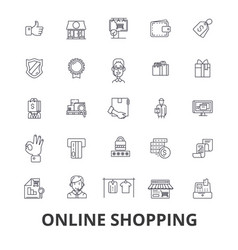 online shopping ecommerce mobile store cart vector image vector image