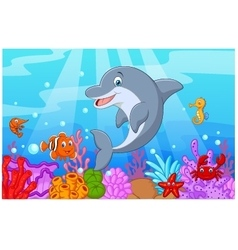 Standing Dolphin with collection fish vector image vector image