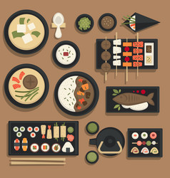japanese food and sushi bento icons for vector image