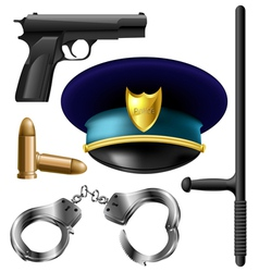 Police item set vector image vector image