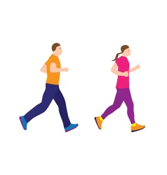 Running people couple vector image vector image