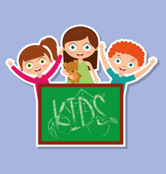 three kids happy girls and boy with chalkboard vector image