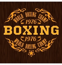 Vintage logo for a boxing - gold on wood vector image vector image