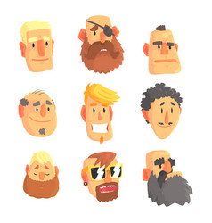 cartoon avatar men faces with different emotions vector image