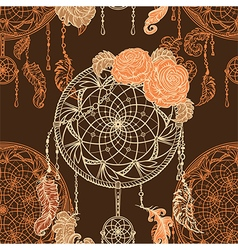 dream catcher roses leaves and feathers vector image