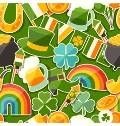 Saint Patricks Day seamless pattern with stickers vector image