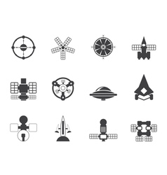 Silhouette future spacecraft icons vector image vector image