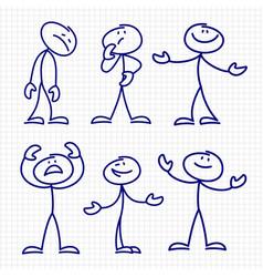 simple hand drawn stick figures set vector image