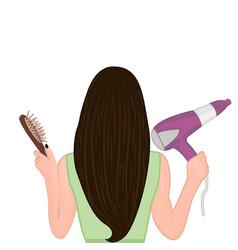 A girl brushing her hair vector