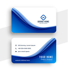 Abstract blue wave business card template design vector