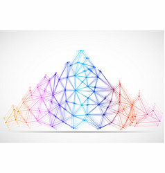 Abstract mountain of lines and dots polygonal vector