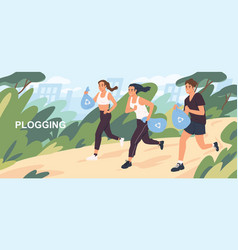 Active cartoon people picking up litter during vector