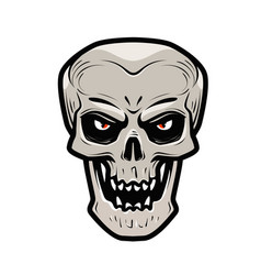 Angry skull monster dead zombie halloween vector