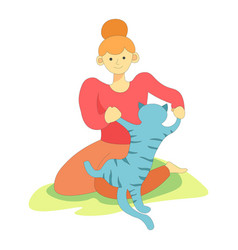 Animal pet playing with owner woman on grass vector
