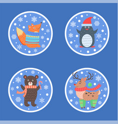 animal set of icons in circle vector image