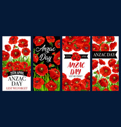 Anzac day poppy banners remembrance anniversary vector