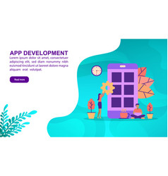 app development concept with character template vector image