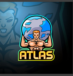 Atlas esport logo mascot design vector