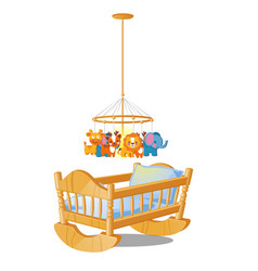 bacarousel with hanging toys over wooden cot vector image