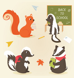 back to school animal characters education design vector image