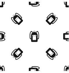 Backpack pattern seamless black vector