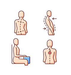 Bad posture problems rgb color icons set vector