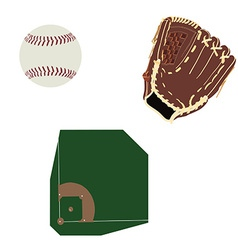 Baseball field ball and glove vector