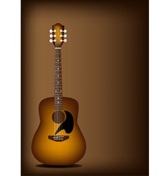 Beautiful Acoustic Guitar on Dark Brown Background vector